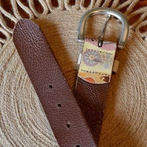 Fossil Accessories - Fossil Leather Daisy Rockers Boho Belt | Large